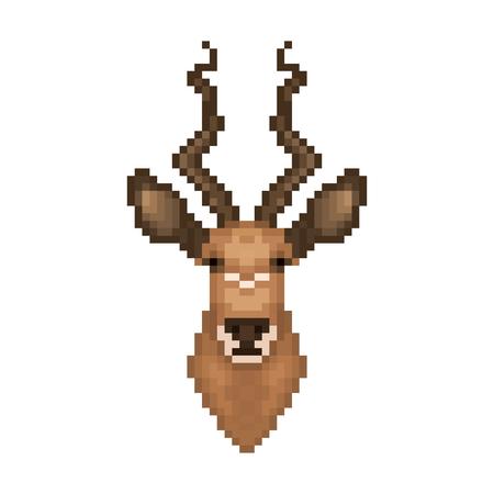 Antelope head in pixel art style. Vector illustration.