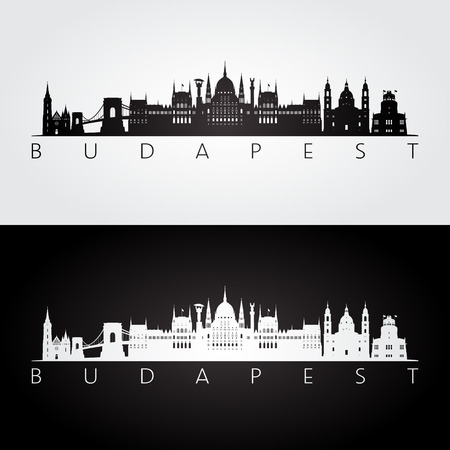 Budapest skyline and landmarks silhouette, black and white design, vector illustration.