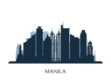 Manila skyline, monochrome silhouette. Vector illustration. Çizim