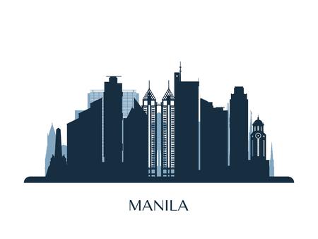 Manila skyline, monochrome silhouette. Vector illustration. Illustration