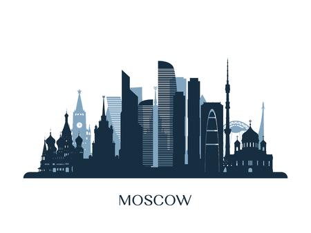 Moscow skyline, monochrome silhouette. Vector illustration. 일러스트