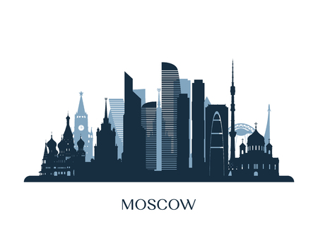 Moscow skyline, monochrome silhouette. Vector illustration. 矢量图像