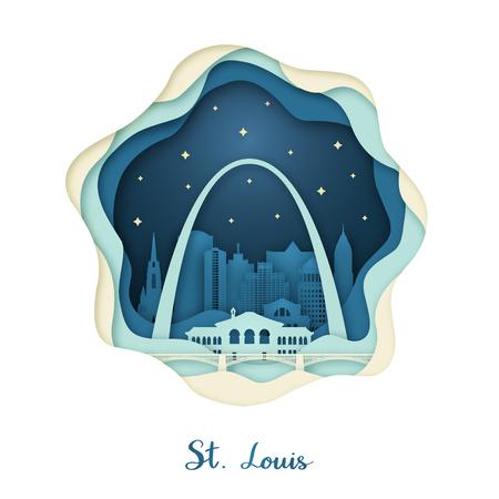 Arte en papel de St. Louis. Concepto de origami. Ciudad de noche con estrellas. Ilustración de vector.