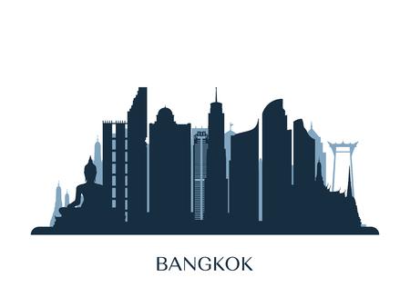 Bangkok skyline, monochrome silhouette. Vector illustration.