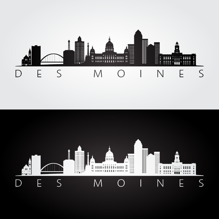 Des Moines USA skyline and landmarks silhouette, black and white design, vector illustration.