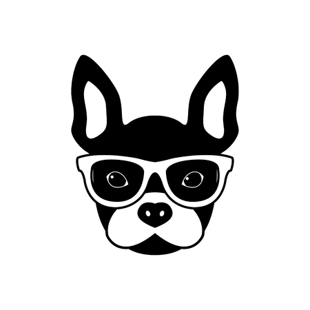 Portrait of french bulldog with glasses, black and white flat style. Vector illustration of Hipster dog.