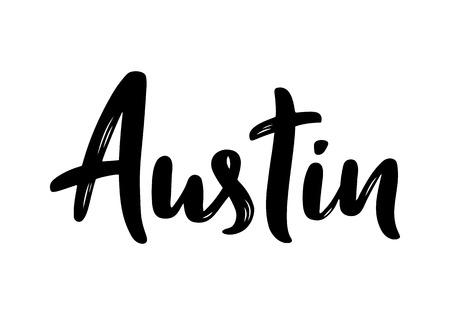 Austin, Texas. Hand-lettering calligraphy. Hand drawn brush calligraphy. City lettering design. Vector illustration. Illustration