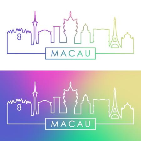 Macau skyline. Colorful linear style. Editable vector file.