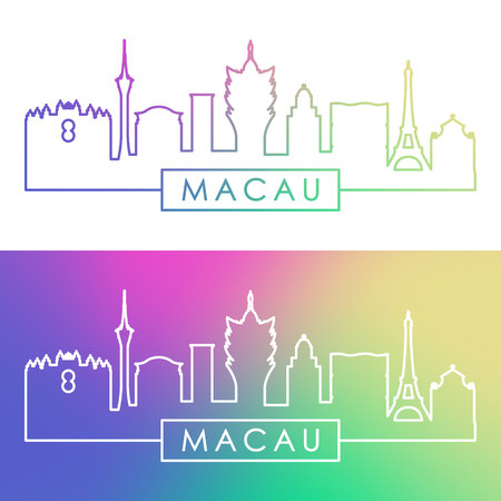 Macau skyline. Colorful linear style. Editable vector file.