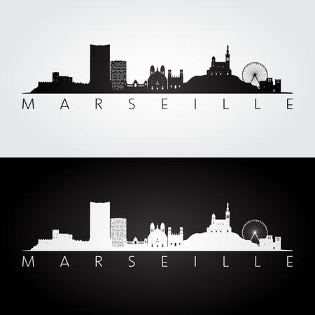 Marseille skyline and landmarks silhouette, black and white design, vector illustration. Stock Vector - 97511329