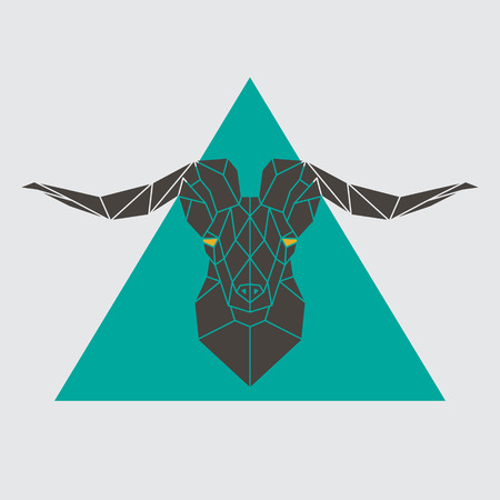 Polygonal head mountain sheep. Vector illustration. 向量圖像