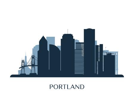 Portland skyline, monochrome silhouette. Vector illustration. Illustration