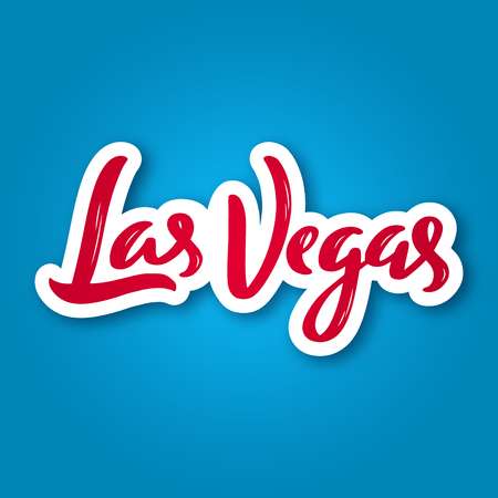Las Vegas - hand drawn lettering phrase. Sticker with lettering in paper cut style. Vector illustration.