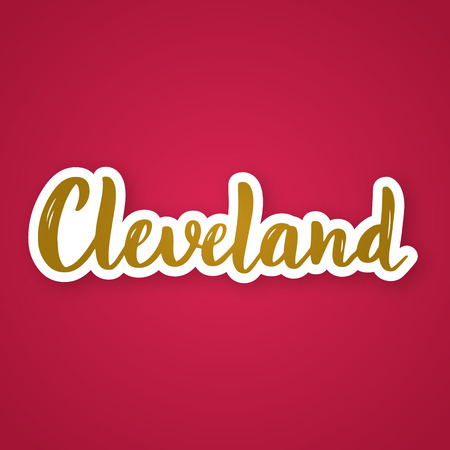 Cleveland - hand drawn lettering phrase. Sticker with lettering in paper cut style. Vector illustration.