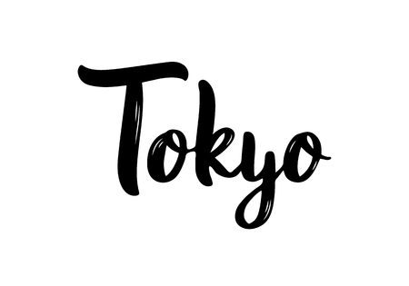 Tokyo hand-lettering calligraphy. Hand drawn brush calligraphy. City lettering design. Vector illustration.
