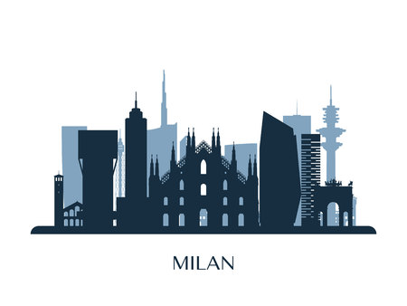 Milan skyline, monochrome silhouette. Vector illustration.
