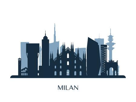 Panoramę Mediolanu, monochromatyczna sylwetka. Ilustracji wektorowych.