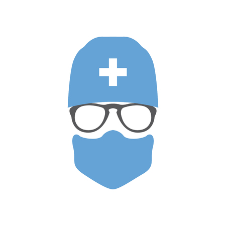 Avatar doctor surgeon in hat and mask. Vector illustration.  イラスト・ベクター素材