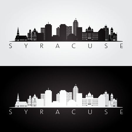 Syracuse USA skyline and landmarks silhouette, black and white design, vector illustration. Illustration