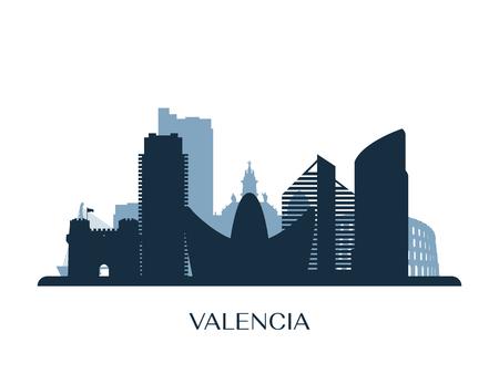 Valencia skyline, monochrome silhouette. Vector illustration.  イラスト・ベクター素材