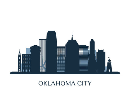 Oklahoma City skyline, monochrome silhouette vector illustration.