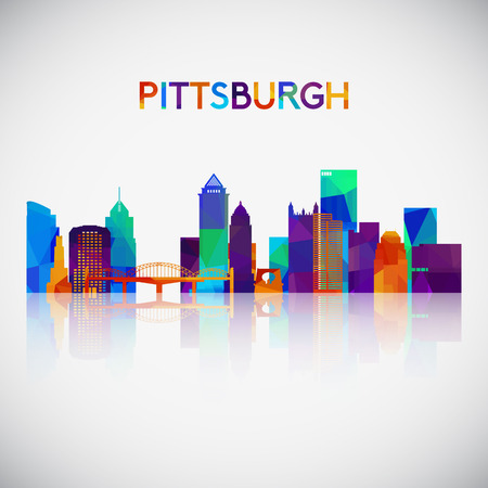 Pittsburgh skyline silhouette in colorful geometric style. Symbol for your design vector illustration.
