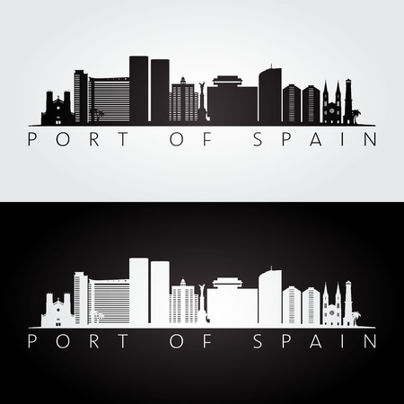 Port of Spain skyline and landmarks silhouette, black and white design, vector illustration. 일러스트