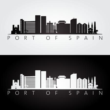 Orizzonte del porto della Spagna e siluetta dei punti di riferimento, progettazione in bianco e nero, illustrazione di vettore. Archivio Fotografico - 98859036