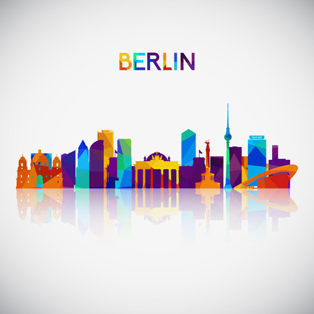 Berlin skyline silhouette in colorful geometric style. Symbol for your design. Vector illustration. Vettoriali