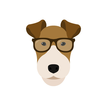 Fox Terrier dog in glasses. Cute dog vector illustration.