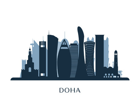 Doha skyline, monochrome silhouette. Vector illustration.