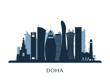 Doha skyline, monochrome silhouette. Vector illustration.