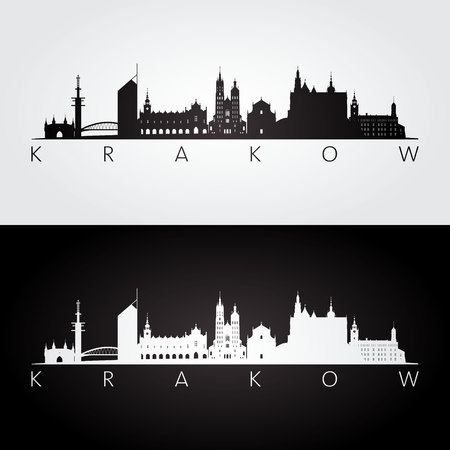Krakow skyline and landmarks silhouette, black and white design, vector illustration.