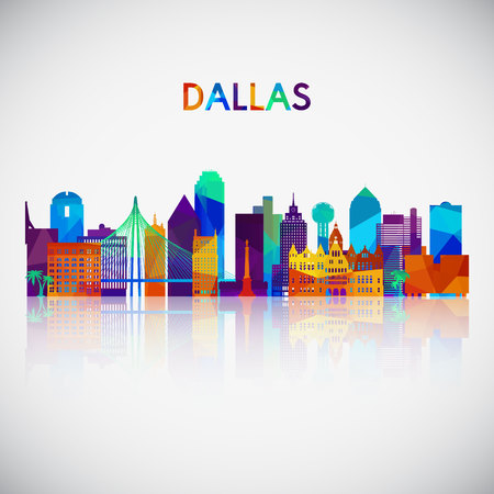 Dallas skyline silhouette in colorful geometric style. Symbol for your design. Vector illustration.