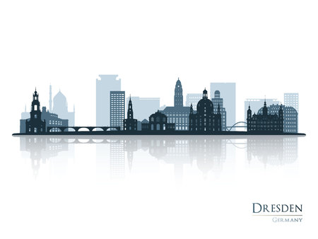 Dresden skyline silhouette with reflection. Vector illustration.