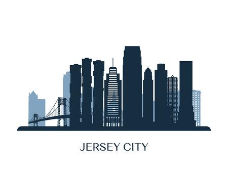 Jersey City skyline, monochrome silhouette. Vector illustration. Illusztráció