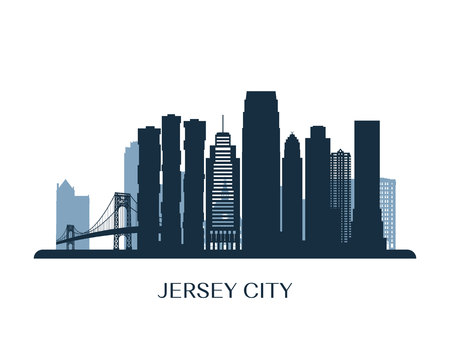 Jersey City skyline, monochrome silhouette. Vector illustration. Illustration