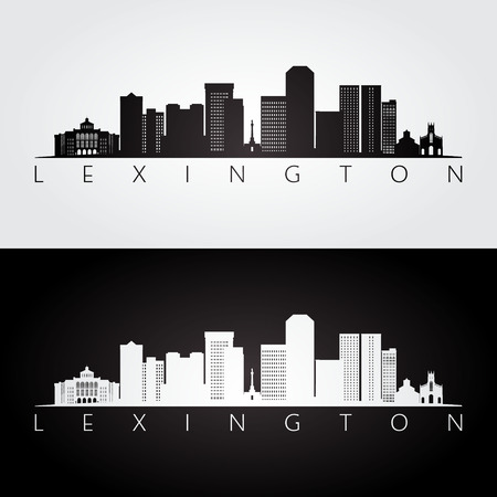 Lexington USA skyline and landmarks silhouette, black and white design, vector illustration.