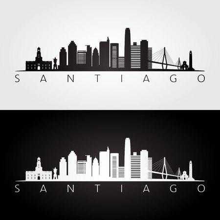 サンティアゴのスカイラインとランドマークのシルエット、黒と白のデザイン、ベクトルイラスト。