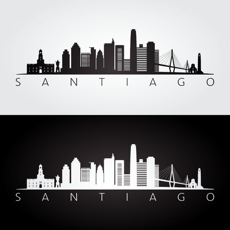 Santiago skyline and landmarks silhouette, black and white design, vector illustration.