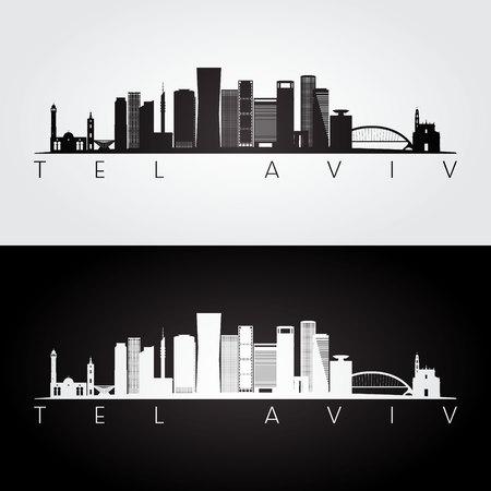 Tel Aviv skyline and landmarks silhouette, black and white design, vector illustration.
