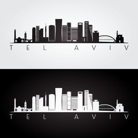 Tel Aviv skyline and landmarks silhouette, black and white design, vector illustration.