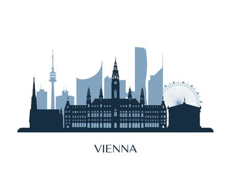 Wenen skyline, zwart-wit silhouet. Vector illustratie