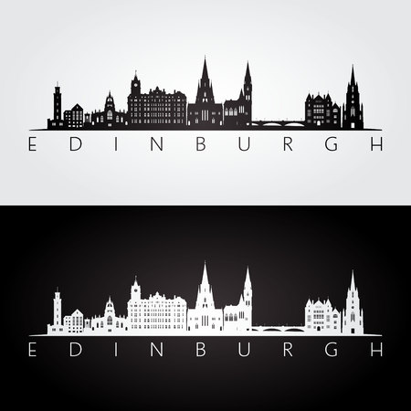 Edinburgh skyline and landmarks silhouette, black and white design, vector illustration. Foto de archivo - 100379178