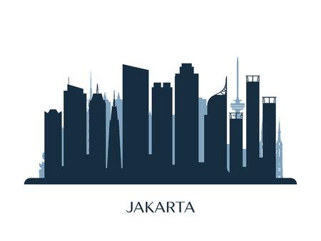 Jakarta skyline, monochrome silhouette. Vector illustration.