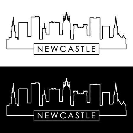 Newcastle skyline. Linear style. Editable vector file.
