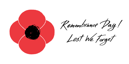 Anzac Day vector banner. Red Poppy flower illustration and lettering - Remembrance Day and Lest We forget. Symbol of International Day of Remembrance. 8th may in Europe Illusztráció