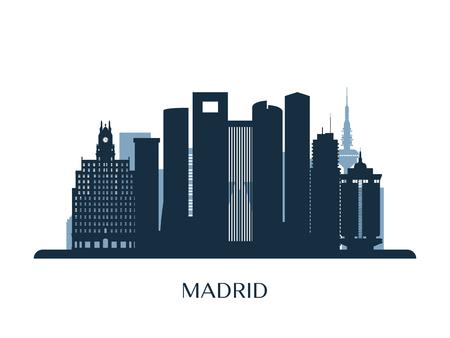 Madrid skyline, monochrome silhouette. Vector illustration.