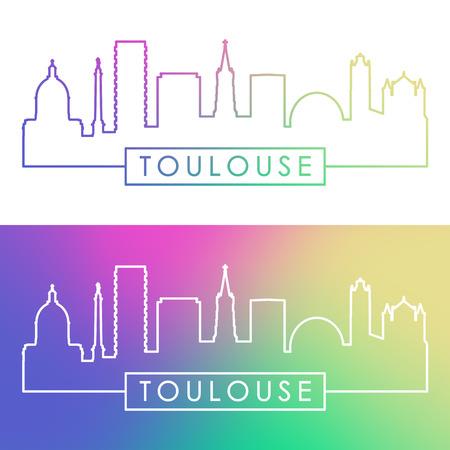 Toulouse skyline. Colorful linear style. Editable vector file. 일러스트