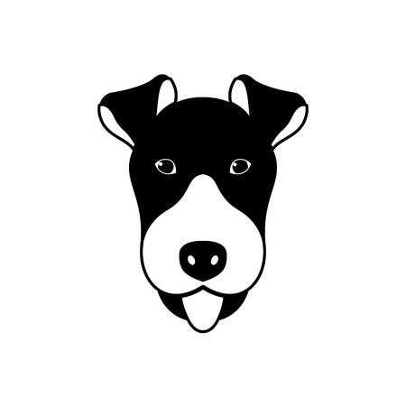 Portrait of Fox Terrier, black and white flat style. Vector illustration. Vector Illustration